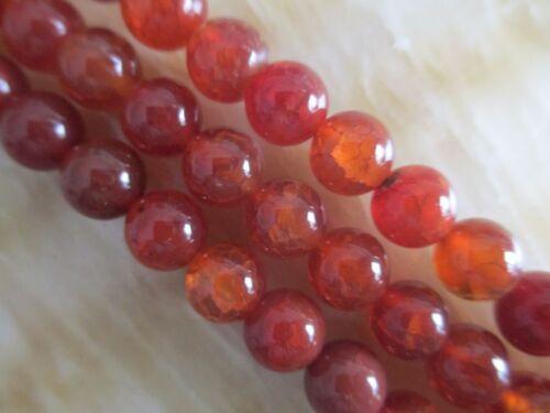 """8 mm Red Dragon Venas Ágata redondo piedras preciosas Cuentas Sueltas 15 /""""Aaa ## hl701"""