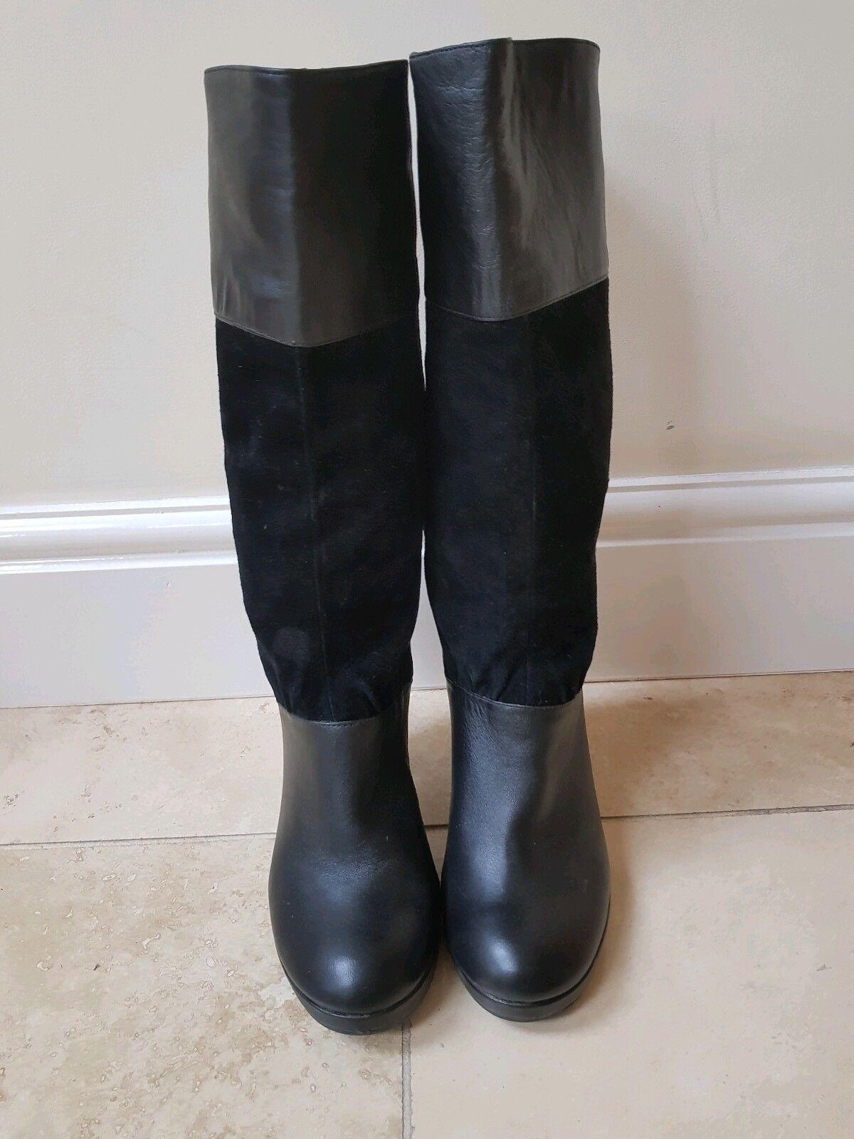 Para mujer licencia licencia licencia poética Cuero Negro botas De Gamuza Tacones Altos Tirar en tamaño de Reino Unido 5 38  almacén al por mayor