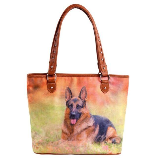 German Shepherd Dog Printed Purse Western Country Canvas Handbag Large Brown