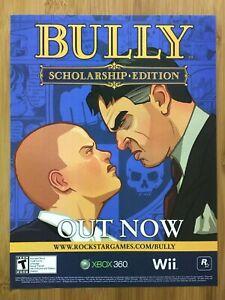Bully-PS2-Xbox-360-One-Wii-2006-Vintage-Print-Ad-Poster-Art-Rockstar-GTA-Rare