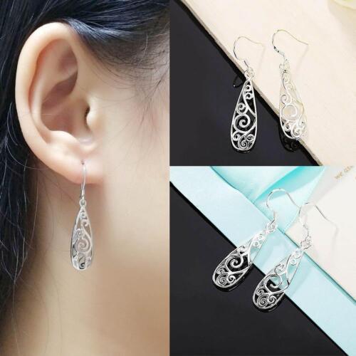 Women/'s Simple Jewelry Bohemia Fashion Silver Hollow Carved Water Drop Earrings