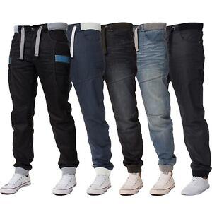 Nouveau-Enzo-Homme-revers-Denim-Pantalon-De-Survetement-Jeans-Noir-Fashion-Big-King-tailles-toutes