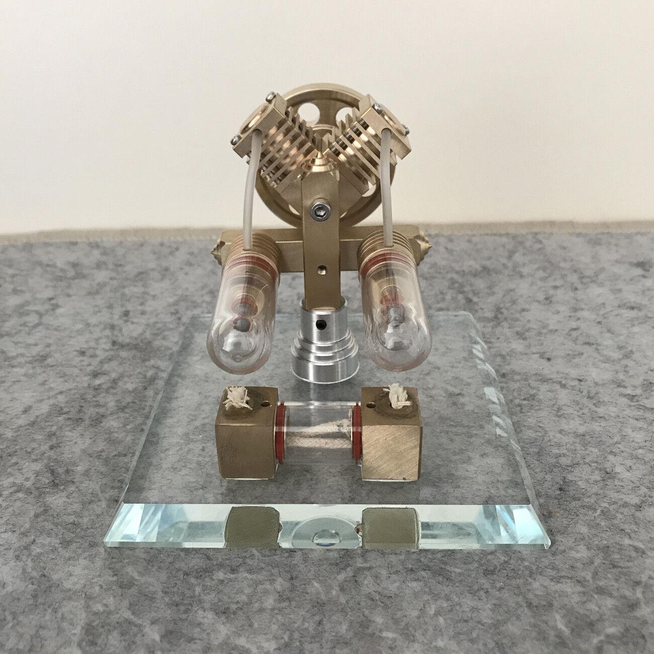 2-Cylinder DIY Stirling Engine Model Toy Mini Hot Air Engine Generator Motor Toy