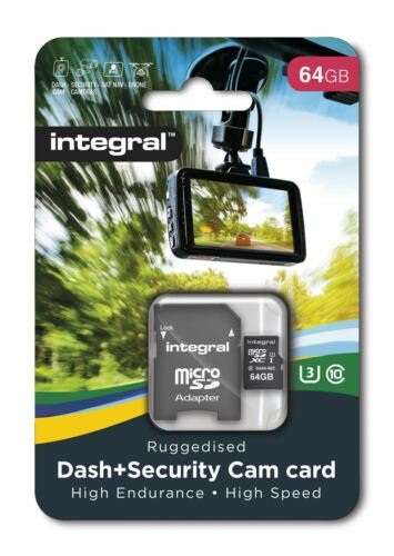 Integral 64GB Class 10 UHS-I U3 microSDXC Card for in-car DASH CAMs. INMSDX64G