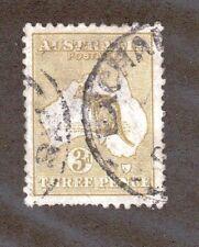 Australia Scott 47 - Kangaroo & Map 3 Pence. Watermark 10  Used. #02 AUS47b