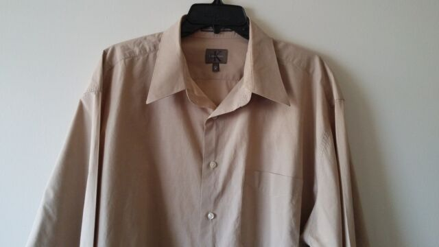 Men's CALVIN KLEIN XL 100% Cotton Casual Long Sleeve Shirt Solid Ivory