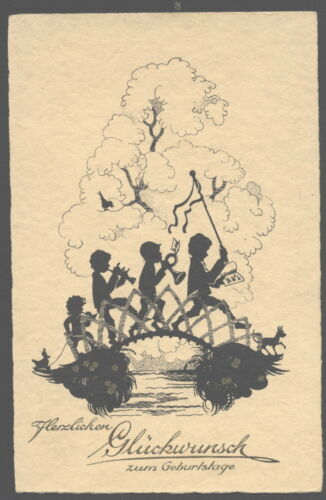 MB6419 SILHOUETTE CARD CHILDREN IN PROCESSION MAKING MUSIC