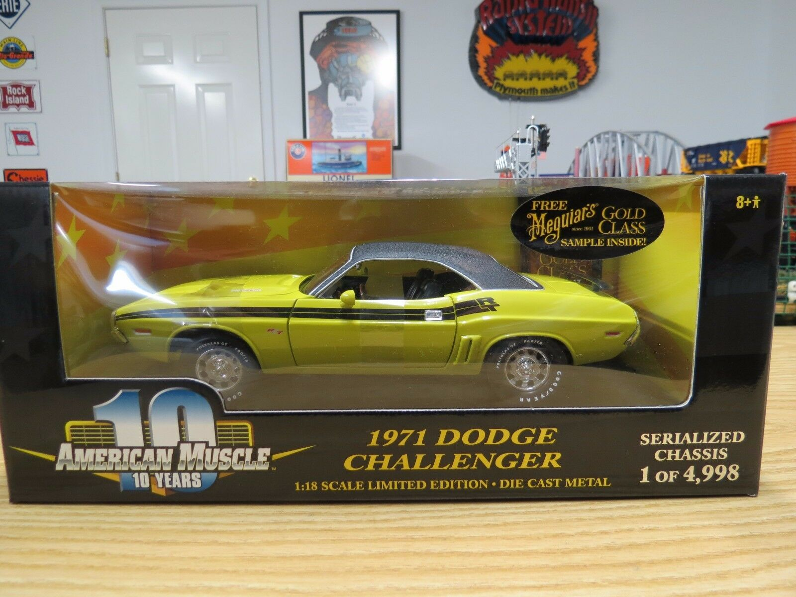 ERTL American Muscle 1971 Challenger R T Jaune 340 4Bbl, 1 18, Nº 36512, NEUF