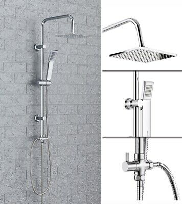 Shower Kit Twin Head Waterfall Chrome Adjust Riser Rail with Chrome Square Set