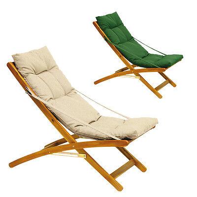 Sdraio legno acacia cuscino imbottito vari colori arredo esterno giardino relax
