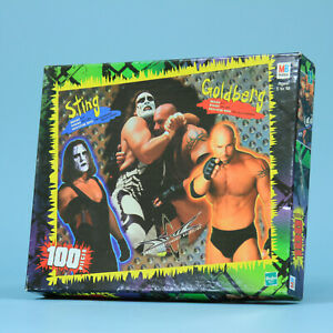 Sting-amp-Goldberg-Milton-Bradley-WCW-100-Piece-Jigsaw-Puzzle-Vintage-Wrestling