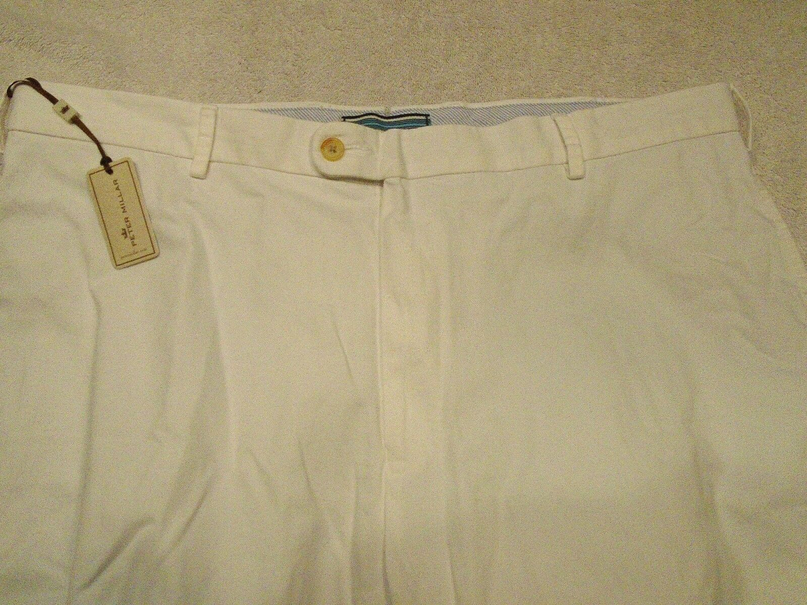 Peter Millar Raleigh Washed Twill Pima Cotton White Pants NWT  38 x 36