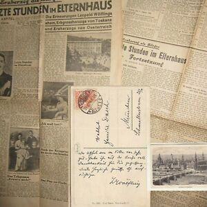 1918 ERZHERZOG LEOPOLD FERDINAND (=WÖLFLING)eigenh.TEXTKARTE m.U.+Zeitung