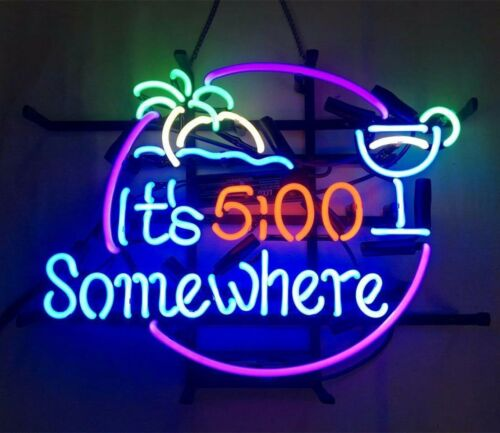 """17/""""x14/"""" It/'s 5 O/'Clock Somewhere BEER BAR REAL GLASS NEON LIGHT PUB SIGN"""