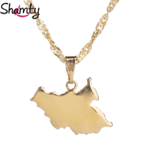 South Sudan Africa Map Country Flag 18K Gold Plated Necklace Chain