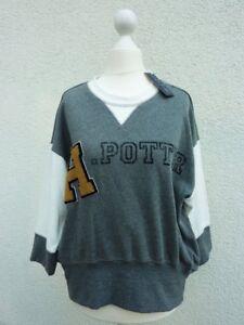 Harry-Potter-Damen-Sweatshirt-Pullover-Pulli-Ubergang-M-L-XL-Grau-Logo-gestickt