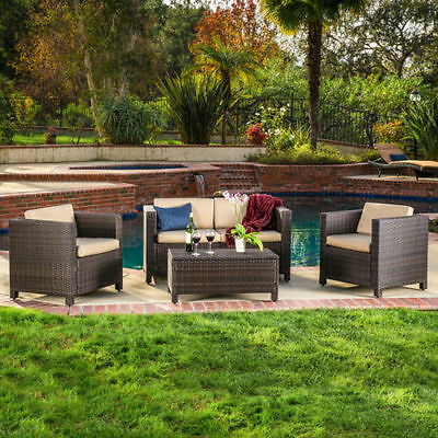 Brown Outdoor Wicker Sofa Set Patio Furniture Deck Pool Garden All Weather Beige