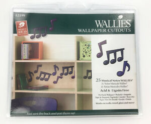 Wallies-Wallpaper-Cutouts-12199-25-Musical-Notes-Prepasted-Removable-New