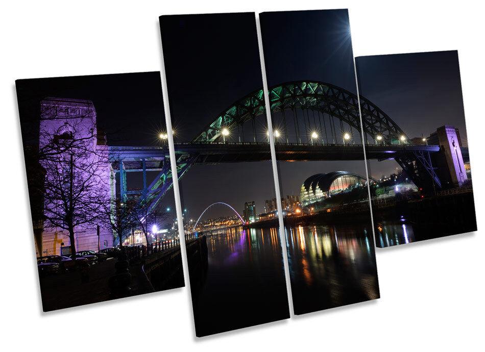 Tyne puente Newcastle noche LONA pared arte Marco Caja de Caja Marco de impresión de panel de múltiples 7eae60