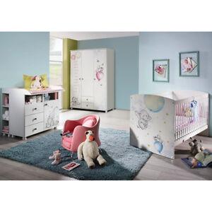 Babyzimmer Jemma Kinderzimmer Komplett Set 3 Teilig In Weiss Print