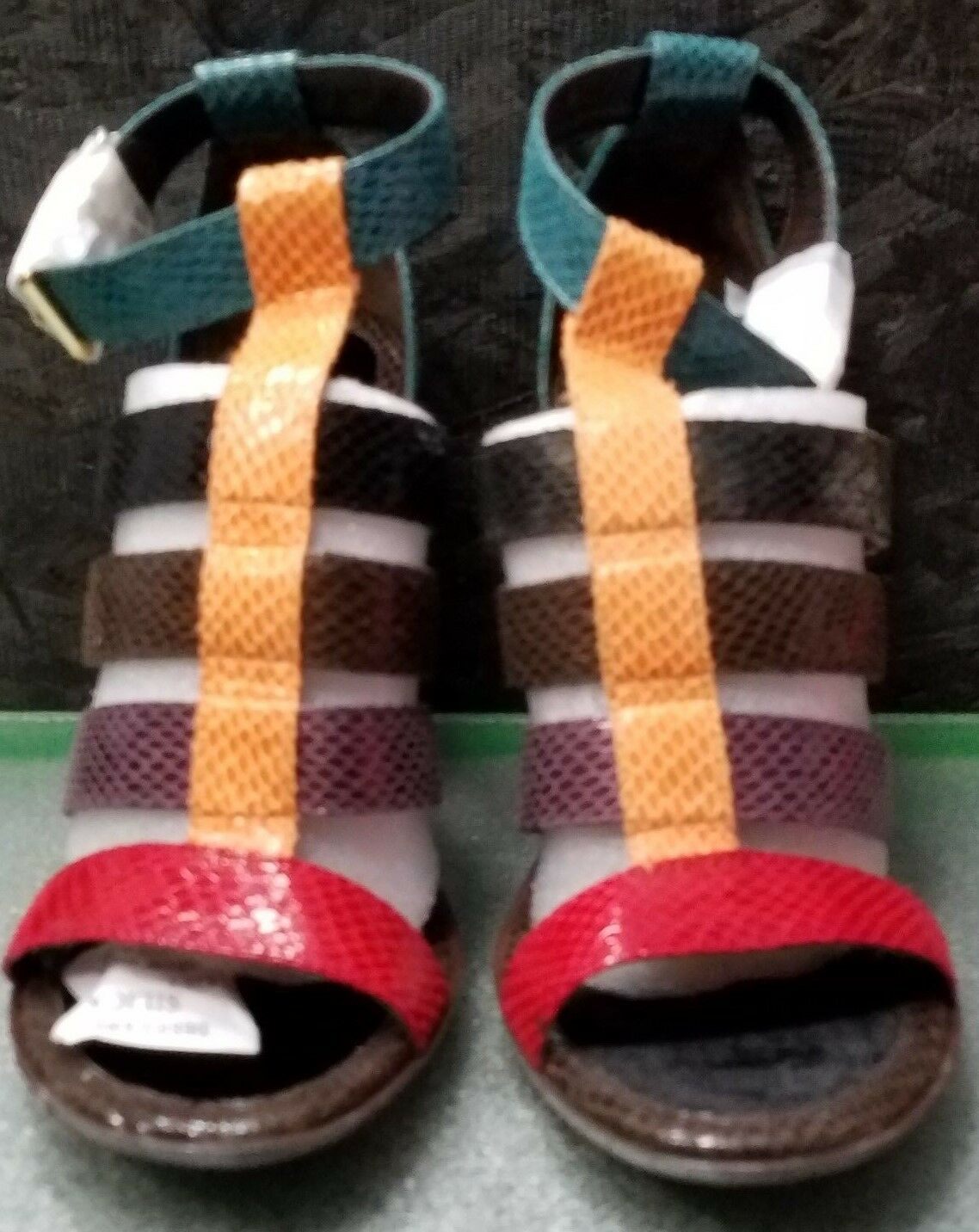 Brown Multi color Snake Open Toe Strap Heel by Baby Phat, Size 7M, NWB