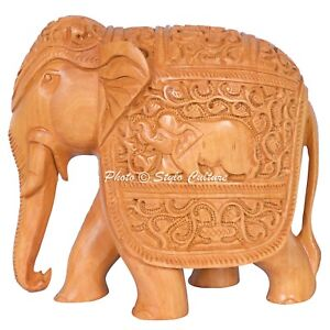 Wooden-Elephant-Sculpture-Indian-Hand-Carved-Statue-Painted-Home-Decor-Elephant