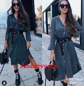 Zara-New-Grey-Flowing-Midi-Long-Shirt-Dress-F-W-2020-Size-S-M-L-XL