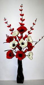 Artificial silk flower arrangement red cream poppy flowers in vase image is loading artificial silk flower arrangement red cream poppy flowers mightylinksfo