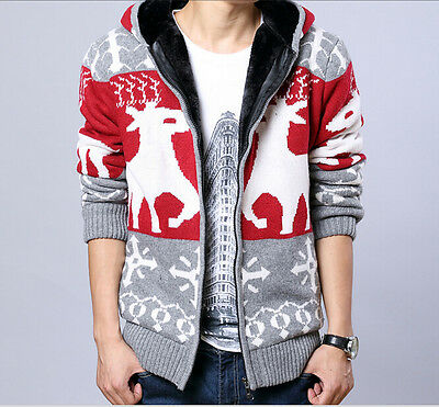 New Mens fur Lining Wool Knitted Warm Zip Cardigan Sweater Hooded jackets coats