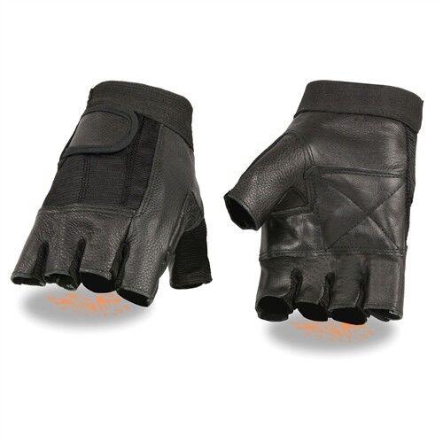 Lightweight Mens Leather /& Spandex Fingerless Motorcycle Gloves Biker S-2XL