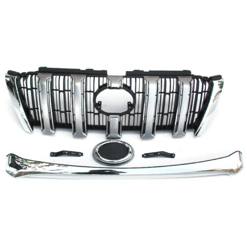 2PCS Silvery Auto Cover Strips+Front Grill Mesh Cover For Toyota Prado 2014-2016