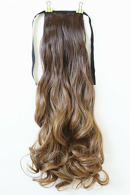 "22"" New Clip In Ponytail Hair Extension Piece Long Curly Ombre Blonde Color 8/27"