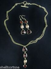 STUNNING WOMENS MEXX NECKLACE & DROP EARRING BUNDLE GOLD MULTI STRAND CHAIN NEW