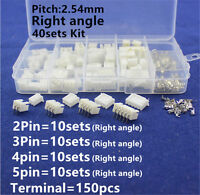40sets Micro Jst Xh 2.5 Right Angle 2 3 4 5pin Terminal Housing Header Connector