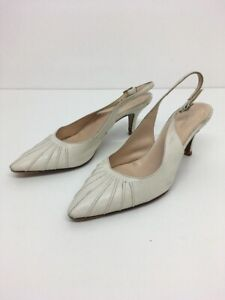 Women-s-Hobbs-Cream-Leather-Sling-Back-High-Heel-Sandals-Shoes-Size-Uk-4-5