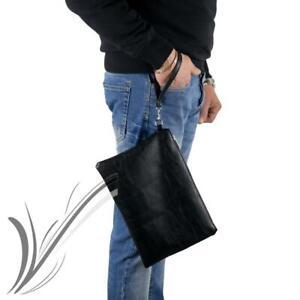 Pochette uomo da polso nera borsello borsa a mano grande porta documenti chiavi