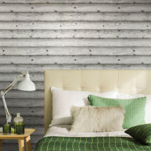Wallpaper-textured-Non-Woven-rolls-Distressed-Grey-Wood-Planks-Boards-Horizontal