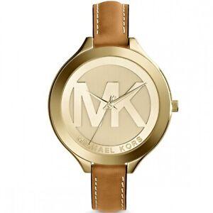 Michael-Kors-Uhr-MK2326-Slim-Gold-Braun-Leder-B-WARE-mit-Gebrauchsspuren
