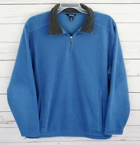 St-John-039-s-Bay-Fleece-Jacket-Mens-XL-Blue-Long-Sleeve-1-4-Zip-Pockets-Pullover