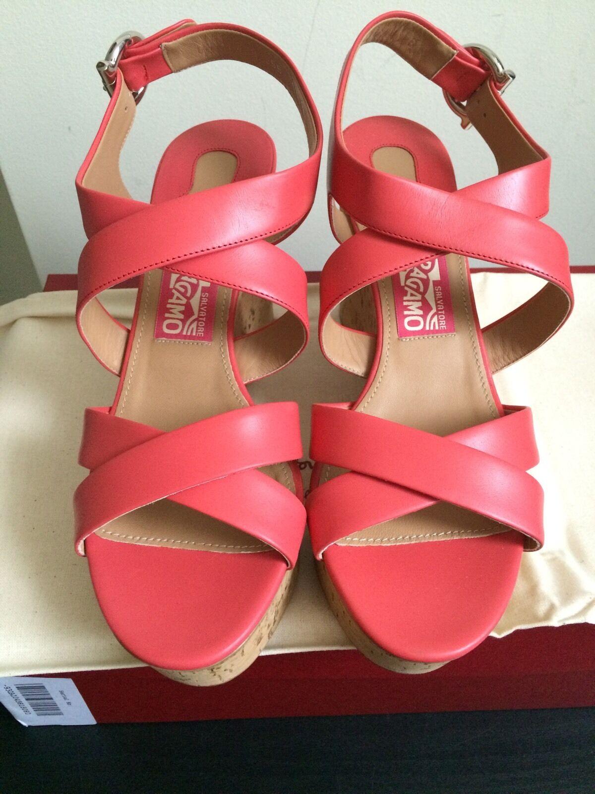 NIB  595 Salvatore Ferragamo Persy Leather Cork Wedge Sandals pink Size 8