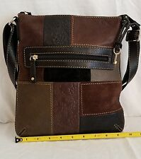 Fossil Leather Patchwork Floral Embossed Crossybody Messager Bag Purse Bag. ECU!