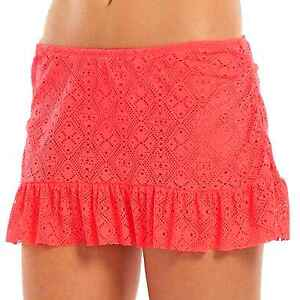 Apt 9 Sizes 1x Bright Coral Crochet Ruffle Edge Skirtini Swim Skirt