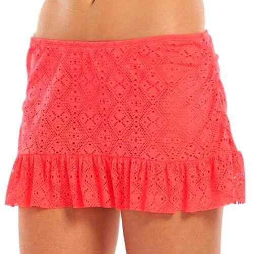 Apt 9 Sizes 1X Bright Coral Crochet Ruffle Edge Skirtini Swim Skirt NEW