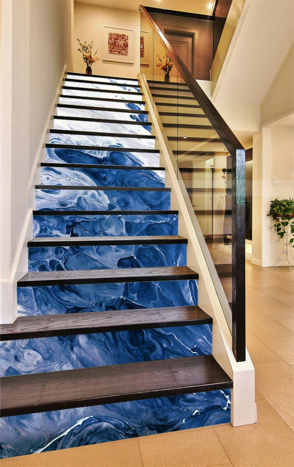 3D bluee Pigment 7 Tile Marble Stair Risers Photo Mural Vinyl Decal Wallpaper