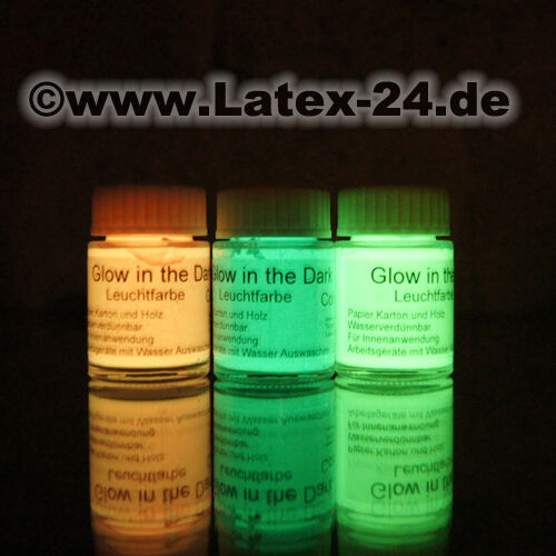 3 x Glow in the Dark Leuchtfarbe Nachtleuchtfarbe dunkeln leuchten SET NEU