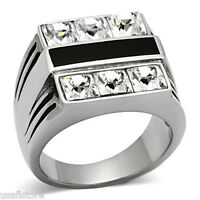 Six Square Crystal Black Center Silver Stainless Steel Mens Ring