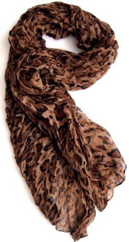 Schal Damen Tuch Leopard weicher Wickelschal gecrasht  braun Leoprint 180 x 100