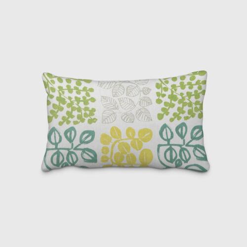 Belle vie Coussin Housse crème avec feuilles en vert tonalités 30x50cm