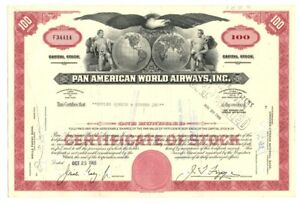 B67898-1966-STOCK-CERTIFICATE-100-shares-PAN-AMERICAN-WORLD-AIRWAYS-CANCELLED