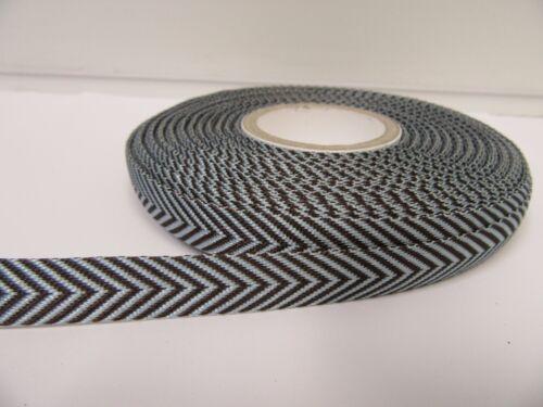 2 metres or 20 metre Roll 10mm Woven Chevron Arrow Ribbon Double sided UK